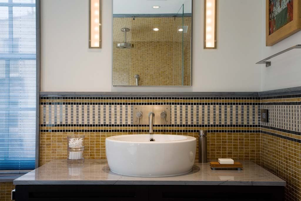 Contemporary Full Bathroom with Wall sconce, frameless showerdoor, Shower, Vessel sink, Complex marble counters, Casement