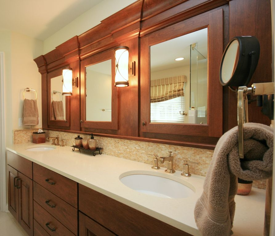 Craftsman Master Bathroom with Raised panel, Ceramic Tile, Shower, Framed Partial Panel, European Cabinets, can lights, Flush