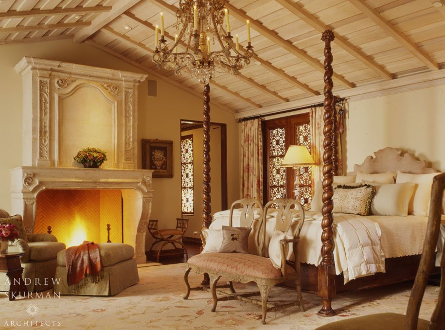 Mediterranean Master Bedroom With Cathedral Ceiling By