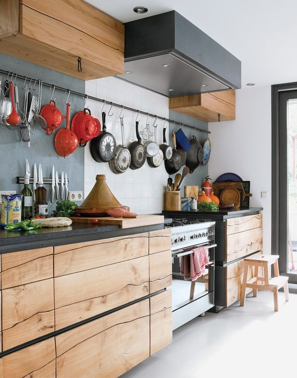 Eclectic Kitchen with gas range, One-wall, Paint 1, Ms international - gray soapstone, Framed Partial Panel, Standard height
