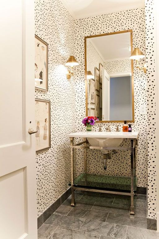 Eclectic Powder Room with Console sink, Crown molding, Standard height, MK Console 20-Inch from Neo-Metro, Paint 1