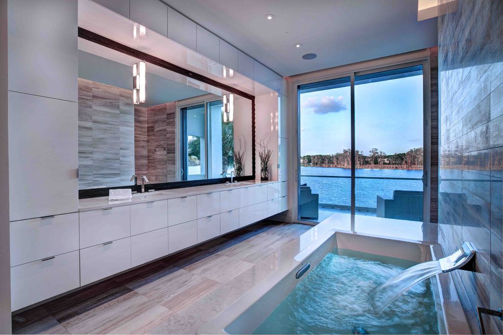 Contemporary Master Bathroom with can lights, European Cabinets, Master bathroom, Corian counters, Undermount sink, Flush