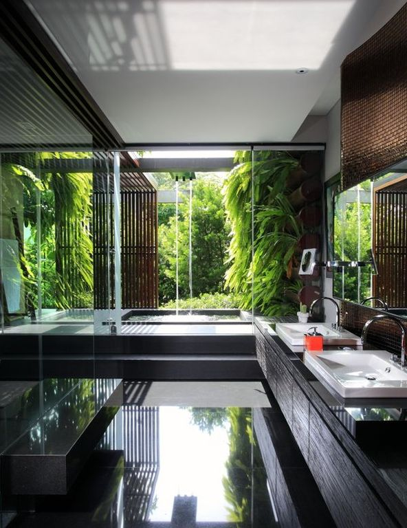 Contemporary Master Bathroom with Ceramic Tile, European Cabinets, Wall Tiles, Vessel sink, Master bathroom, Standard height