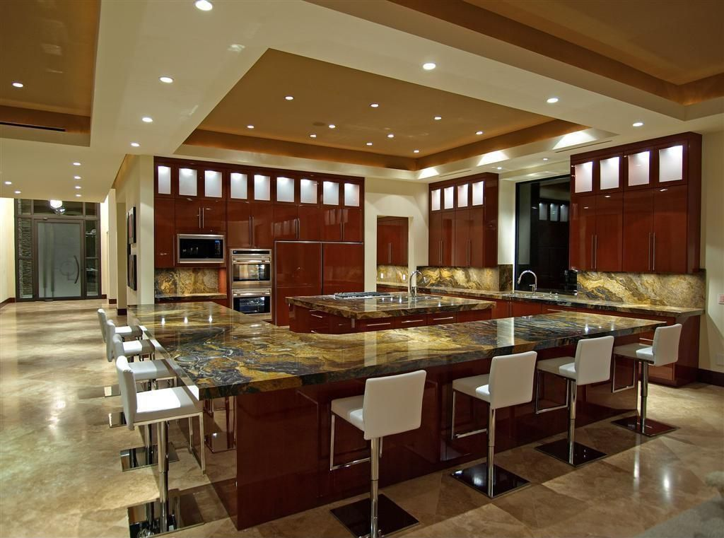 Contemporary Kitchen with Paint 2, Glass panel, Complex Granite, European Cabinets, Kitchen island, Transom window, Flush