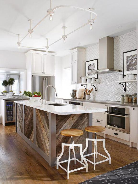 Eclectic Kitchen with Reclaimed wood, Quartz countertops, Flush, Flat panel cabinets, flush light, Wall Hood, Breakfast bar