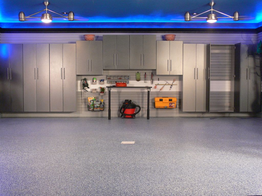 Contemporary Garage with Led ceiling accent lighting, Ceiling fan, Standard height, Double ceiling fan with light