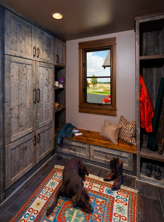 Eclectic Mud Room with Built-in bookshelf, Wood bench, Standard height, Built in bench, can lights, Paint 2, Window seat