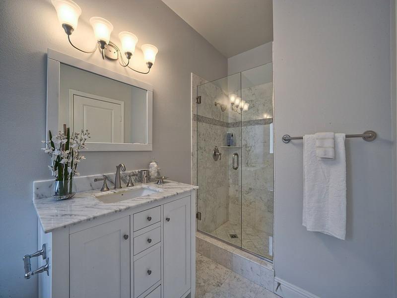 Modern Full Bathroom with specialty door, partial backsplash, frameless showerdoor, Powder room, Simple marble counters