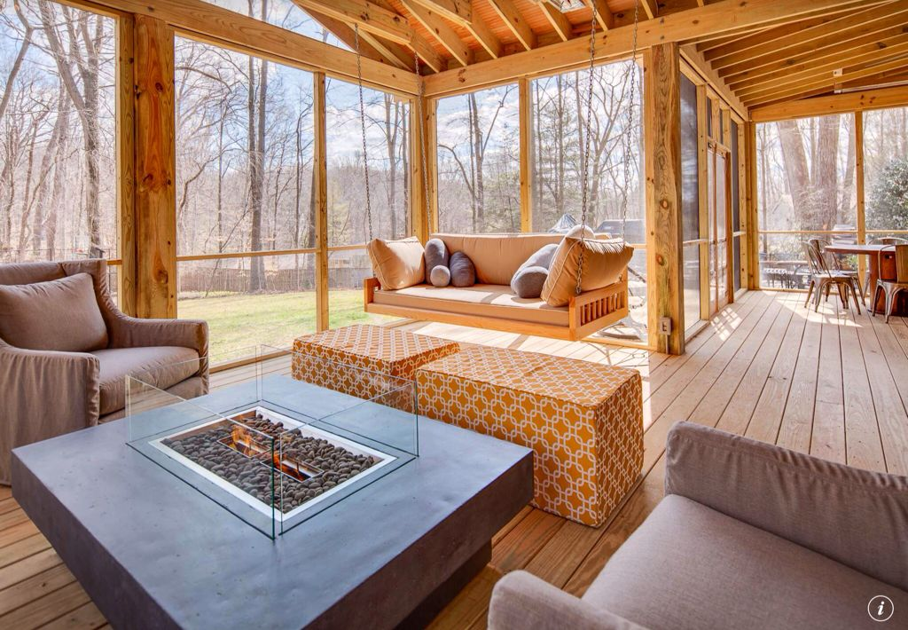 Contemporary Porch with Porch swing, Guy chaddock collection poole skirted wing chair uc3153, Fence, picture window, Fire pit