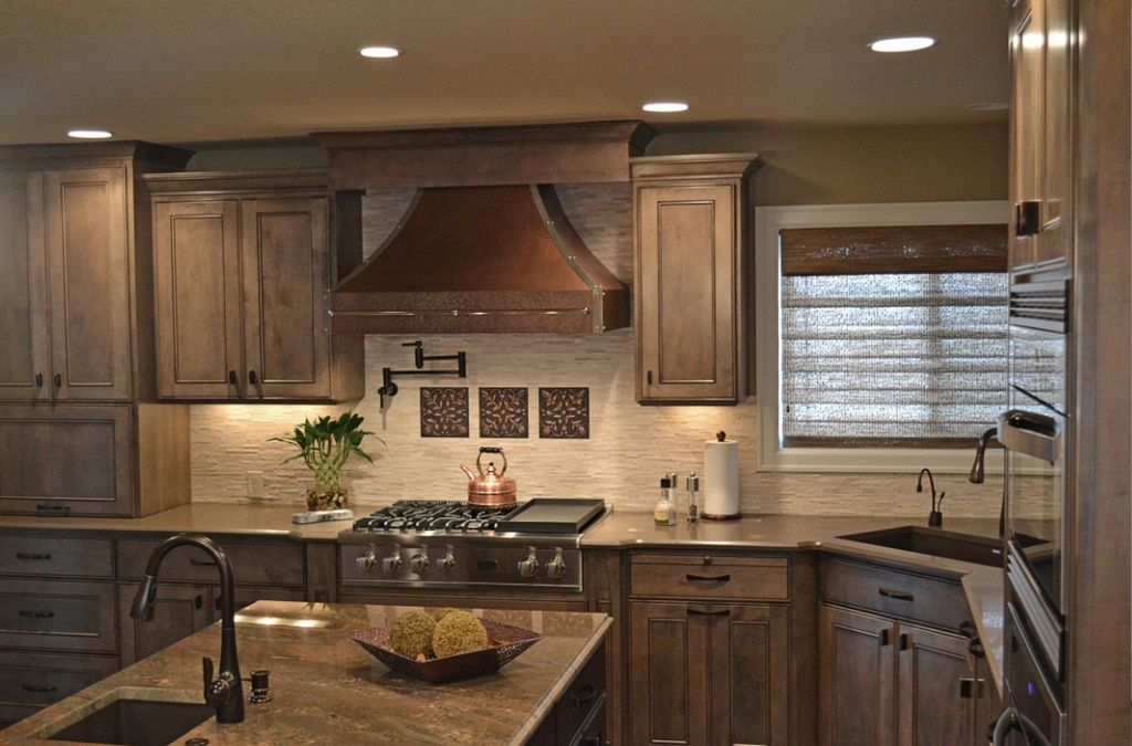 Eclectic Kitchen with Simple granite counters, Durasupreme Cabinets Chapel Hill Panel Cherry Pepeprcorn, Framed Partial Panel