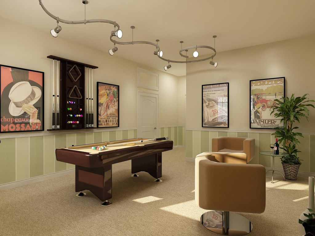 Modern Game Room with Standard height, can lights, Chair rail, six panel door, Carpet