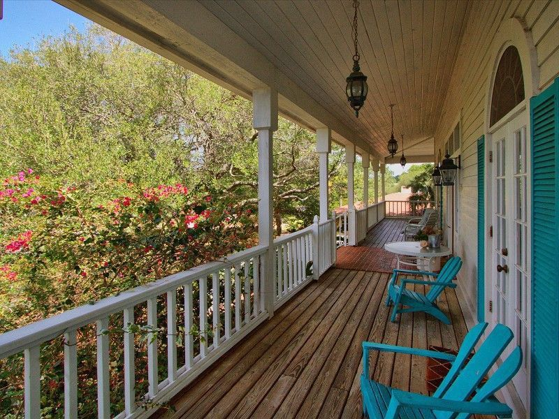 Country Porch with Wrap around porch, Deck Railing, Transom window, French doors