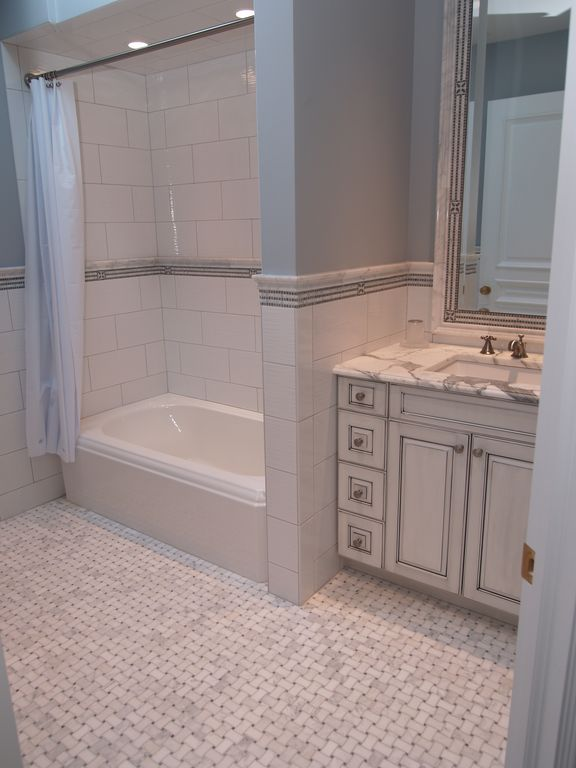Traditional Full Bathroom with Shower, Standard height, Raised panel, Ann Sack White Thassos Ogge, Paint, specialty door