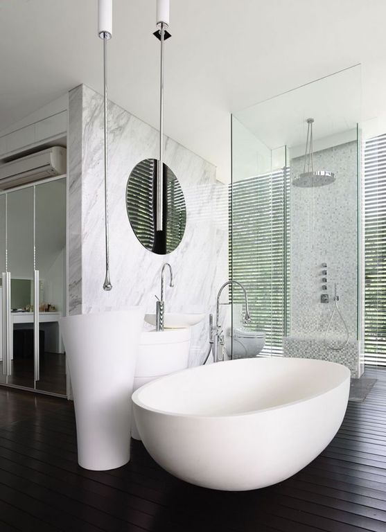 Contemporary Full Bathroom with Casement, Standard height, Pedestal sink, Custom shower system with rain shower head., Shower