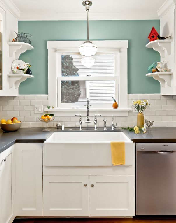 Cottage Kitchen with Rohl shaws classic modern apron sink, Glass panel, dishwasher, Farmhouse sink, Soapstone counters, Flush