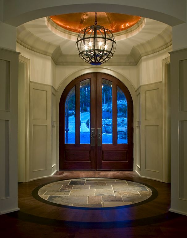 """Contemporary Entryway with 12"""" slate tile, Board and batten, French doors, Paint 3, Round room, Arched door, Wainscotting"""