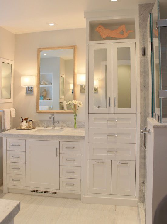 Contemporary Master Bathroom with Shower, flush light, Wall sconce, Flush, Complex marble counters, can lights, Glass panel