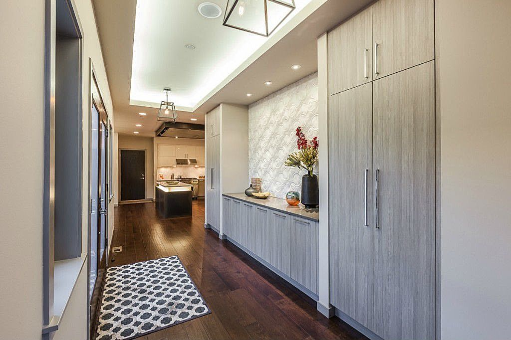 Contemporary Entryway with interior wallpaper, Box ceiling, Standard height, French doors, can lights, Pendant light