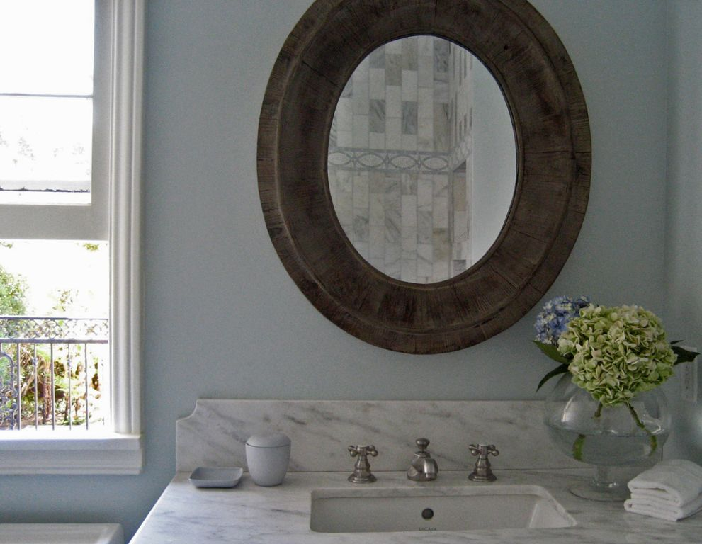 Traditional Full Bathroom with Paint, double-hung window, Marble vanity top