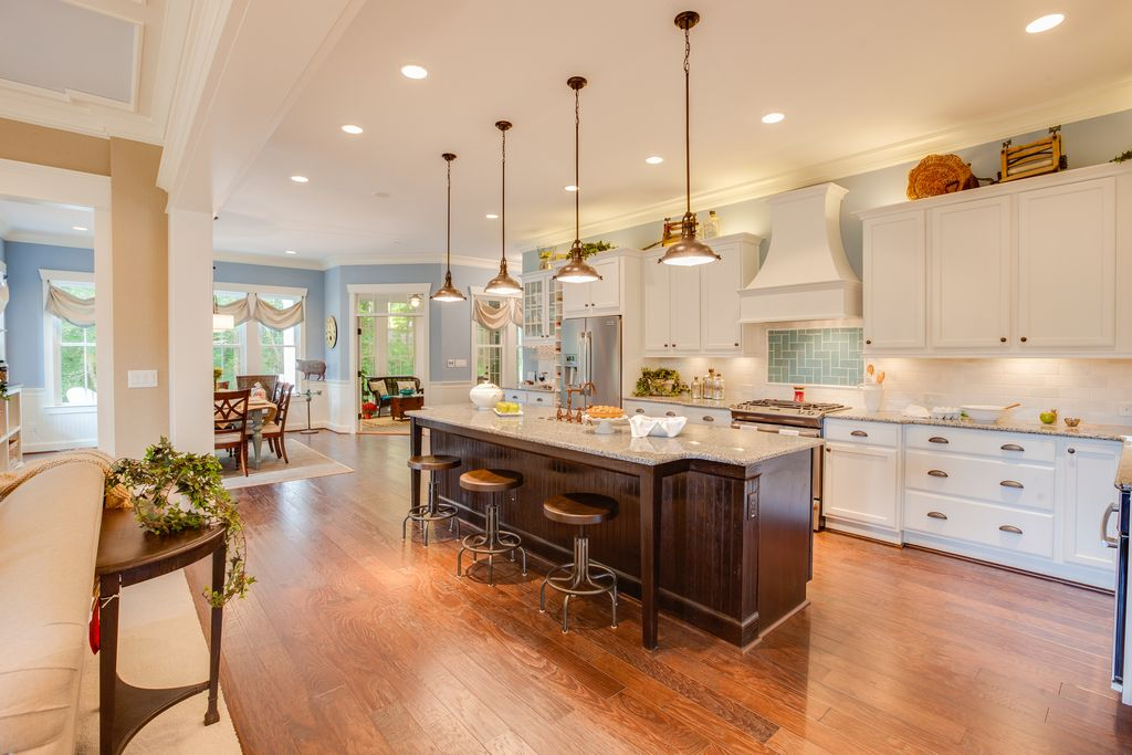 Traditional Kitchen with One-wall, Undermount sink, Kitchen island, Inset cabinets, Kichler fresnel 1 light pendant