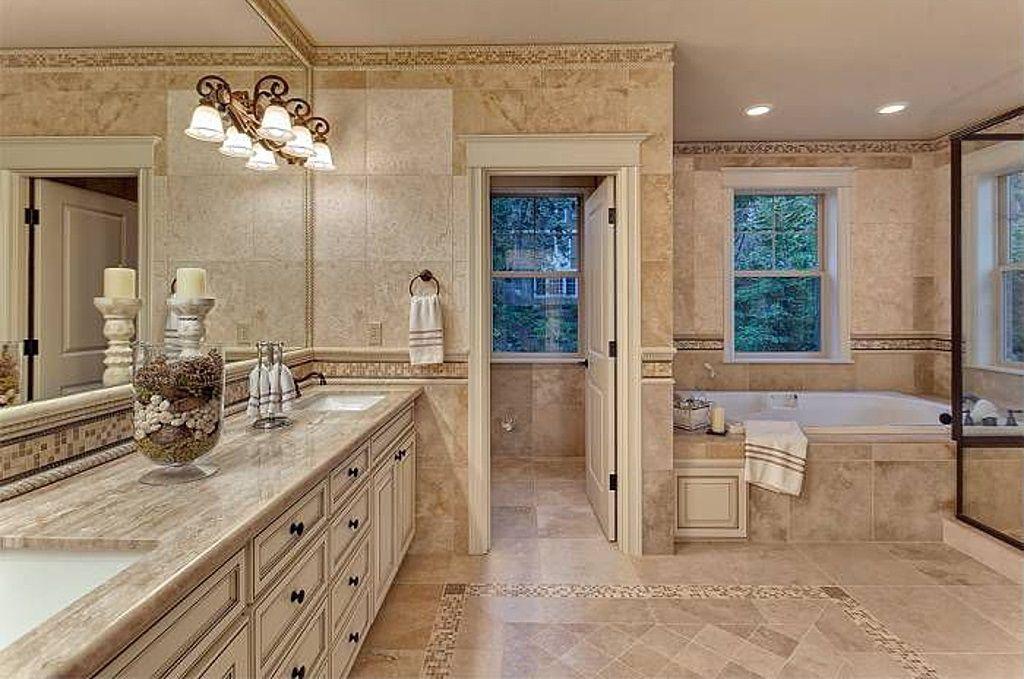 Rustic Master Bathroom with Glass shower, sliding glass door, drop in bathtub, Paint 1, can lights, Double sink vanity, Paint
