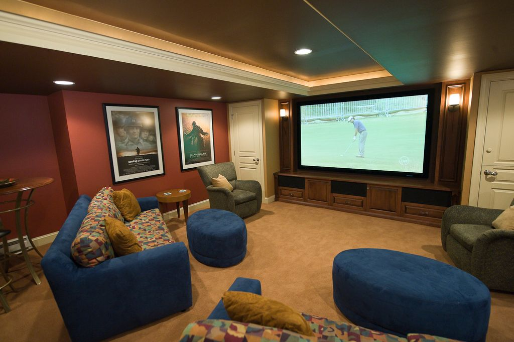 Home Theater with Standard height, can lights, Paint 2, Box ceiling, Built-in bookshelf, Carpet, Paint, Crown molding