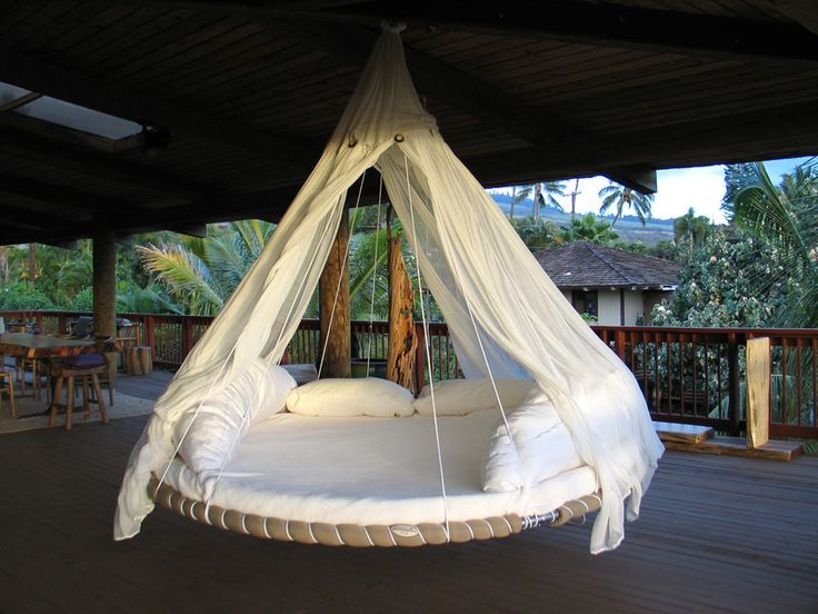 Eclectic Porch with Floating bed