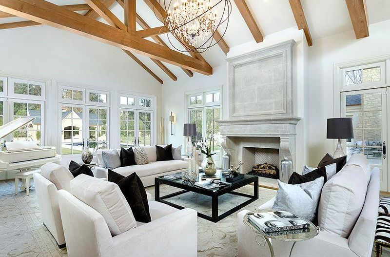 Cottage Living Room with Fireplace, Carpet, Restoration hardware belgian track arm slipcovered sofa, Exposed beam, Chandelier