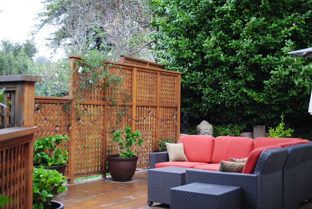 Asian Deck with Raised beds, Crate & barrel ventura bunching table, Fence