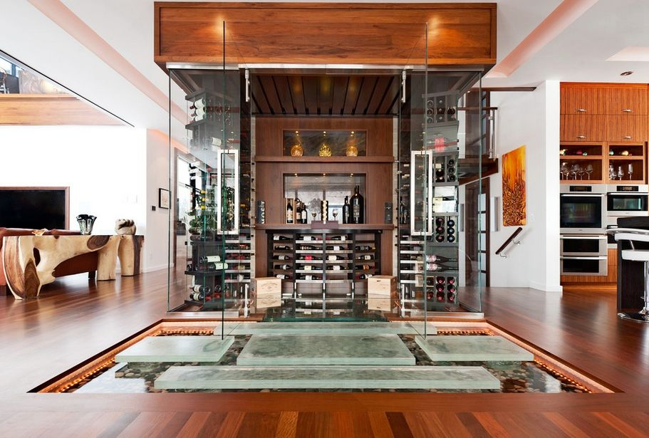 Contemporary Wine Cellar with can lights, Hardwood floors, French doors, Standard height, picture window