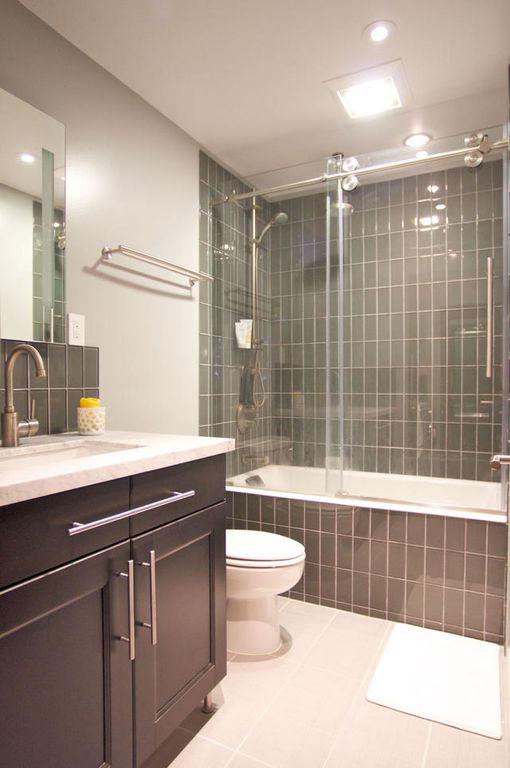 Contemporary Full Bathroom with can lights, Wall Tiles, flush light, Bathtub, Full Bath, Handheld showerhead, Paint, Flush