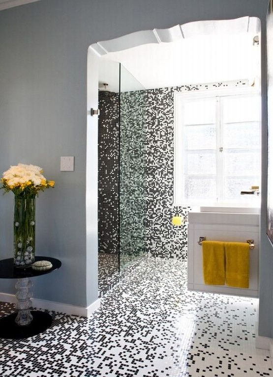 Contemporary Master Bathroom with Standard height, wall-mounted above mirror bathroom light, Towels, Corian counters, Paint