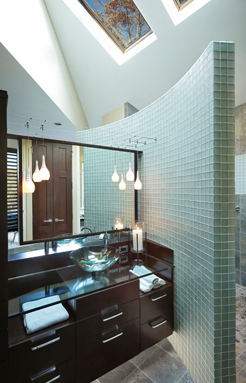 Modern Master Bathroom with Paint, Shower, three quarter bath, Curved wall, Pendant light, Flush, Glass counters, Vessel sink