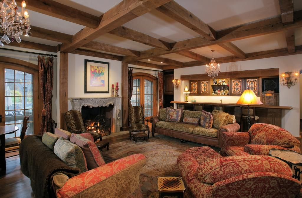 Cement, Chandelier, Exposed Beams, French, Hardwood, Normal (2.7m), Rustic, Traditional, Wall sconce