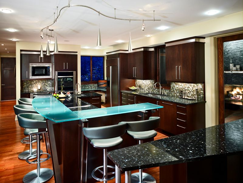Modern Kitchen with L-shaped, Hand scraped maple sedona engineered hardwood flooring, double wall oven, Standard height