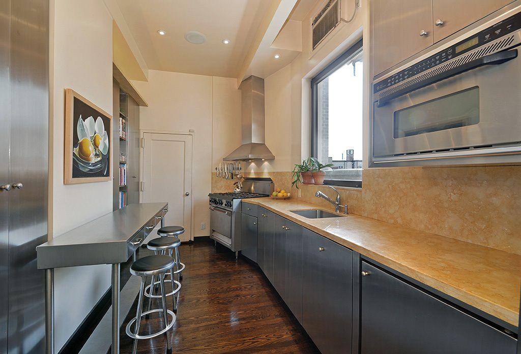 Modern Kitchen with Undermount sink, Lauren Pretorius - Cracked Egg - Fine Art Oil Painting, Galley, High ceiling, Onyx