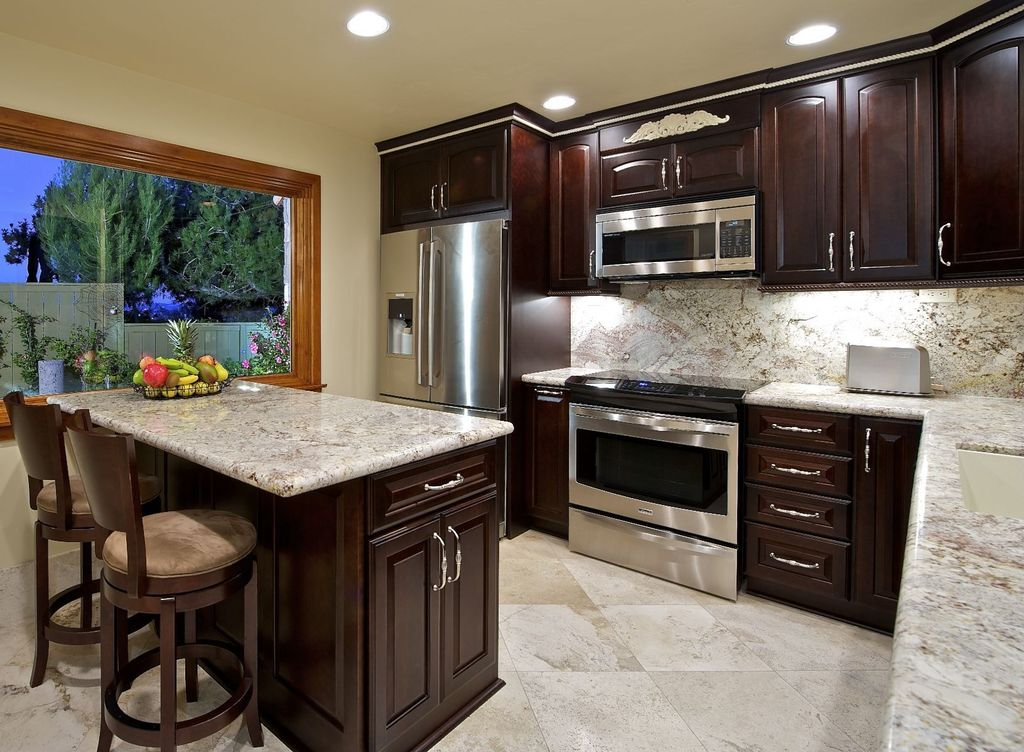 Traditional Kitchen with Wildon home kona barstool, Paint, Raised panel, can lights, Standard height, Framed Partial Panel
