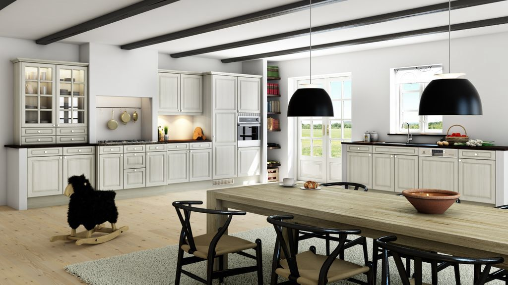 Contemporary Kitchen with Flush, Exposed beam, wall oven, Raised panel, Glass panel door, electric cooktop, dishwasher