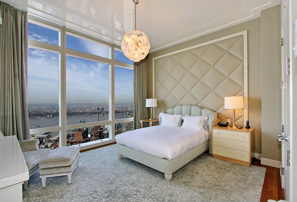 Contemporary Guest Bedroom with French doors, picture window, Crown molding, Hardwood floors, Chandelier, Standard height