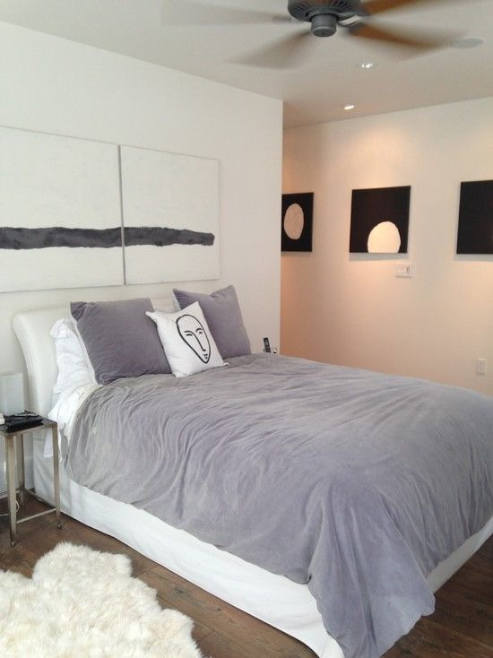Contemporary Master Bedroom with Ceiling fan, Standard height, can lights, Hardwood floors