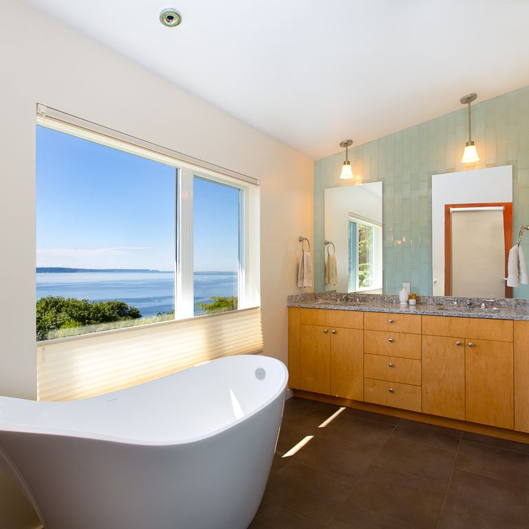 Modern Master Bathroom with Simple Granite Tile, Standard height, Master bathroom, Simple granite counters, Stone Tile, Flush