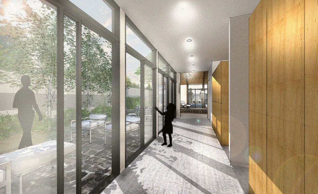 Contemporary Hallway with Transom window, can lights, French doors, Concrete floors, picture window, Standard height