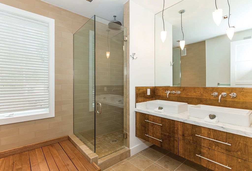 Contemporary Master Bathroom with European Cabinets, Complex Marble, Double sink, Flush, partial backsplash, Casement, Shower