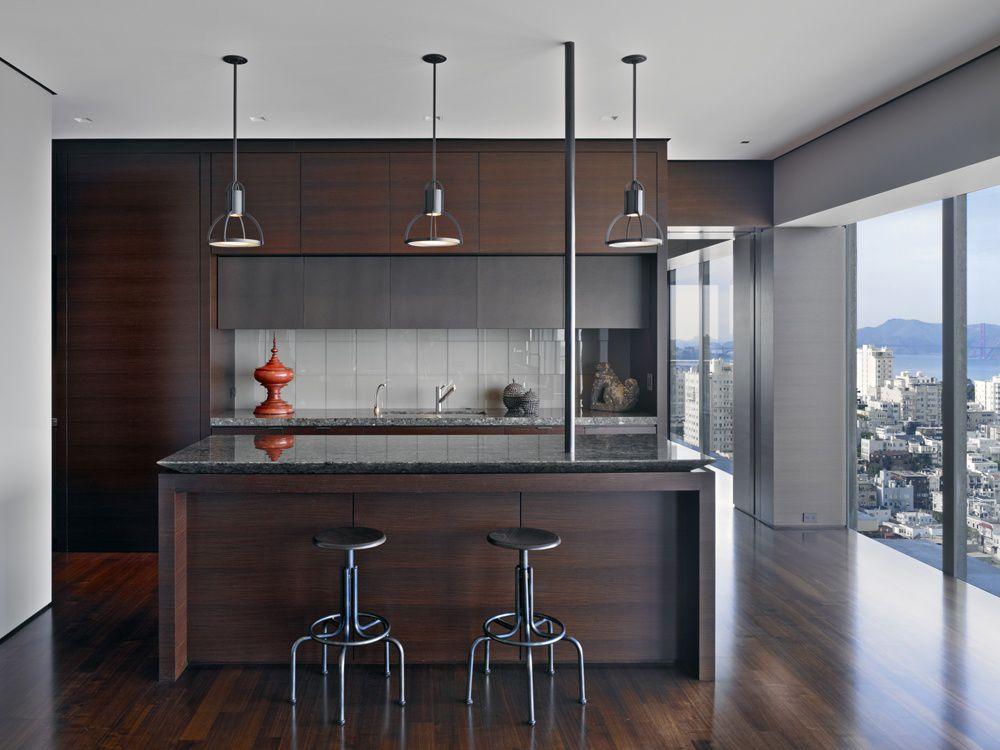 Modern Kitchen with Pendant light, Large Ceramic Tile, specialty window, Flush, Breakfast bar, Undermount sink, One-wall