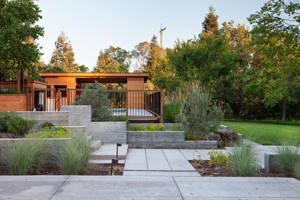 Contemporary Landscape/Yard with Deck Railing, exterior concrete tile floors, Gate, exterior tile floors, Pathway