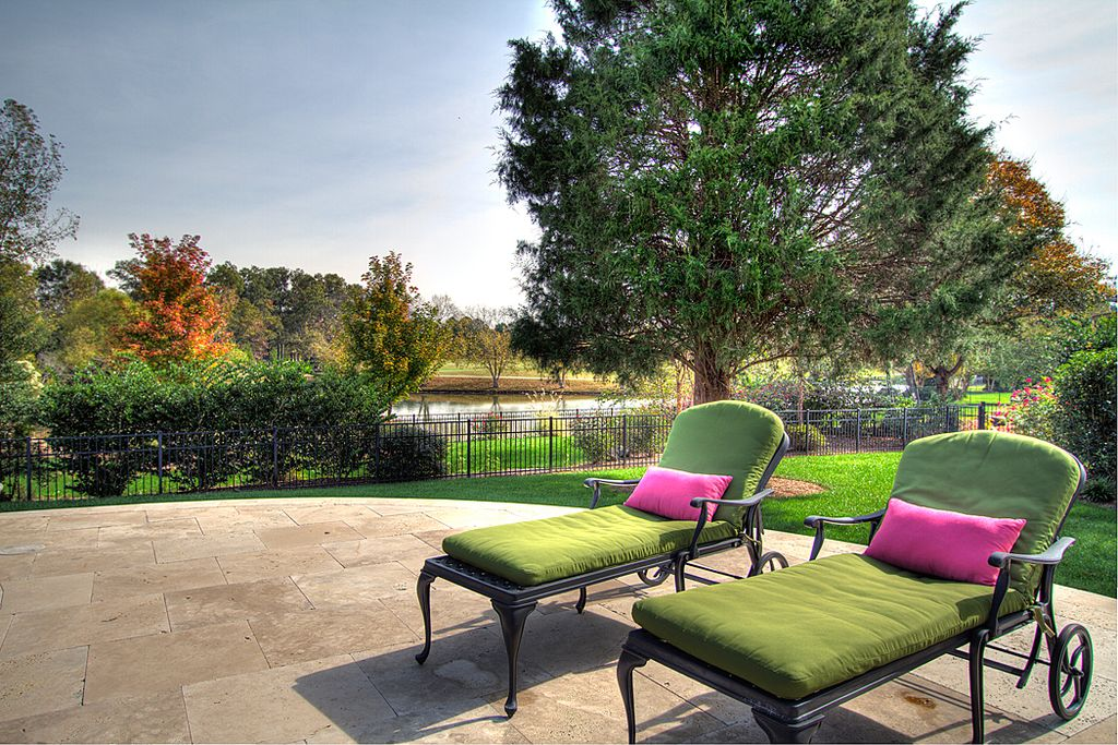 Traditional Patio with Fence, exterior stone floors