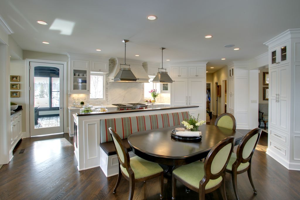 Traditional Kitchen with Breakfast nook, Glass panel, Flat panel cabinets, can lights, full backsplash, Complex Marble