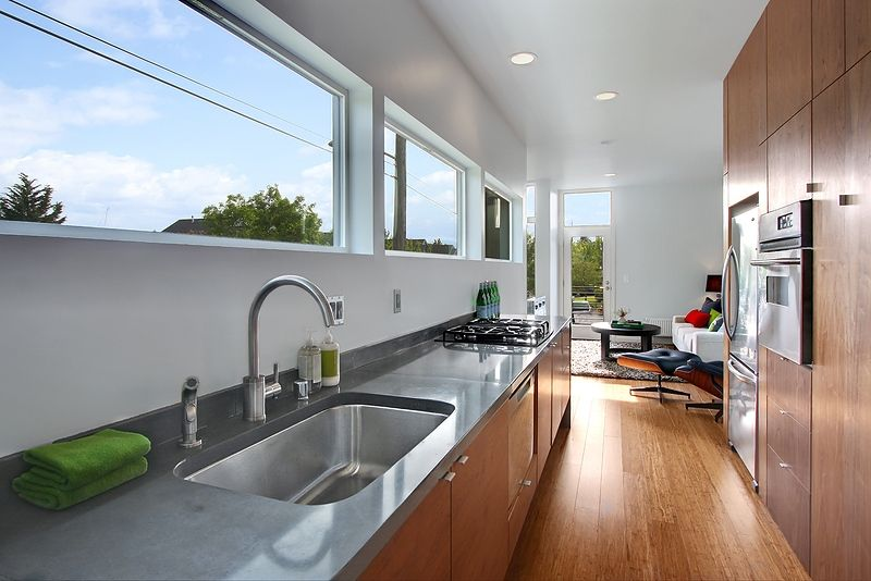 Contemporary Kitchen with wall oven, Blanco purus II single handle single hole kitchen faucet with metal side spray, Galley