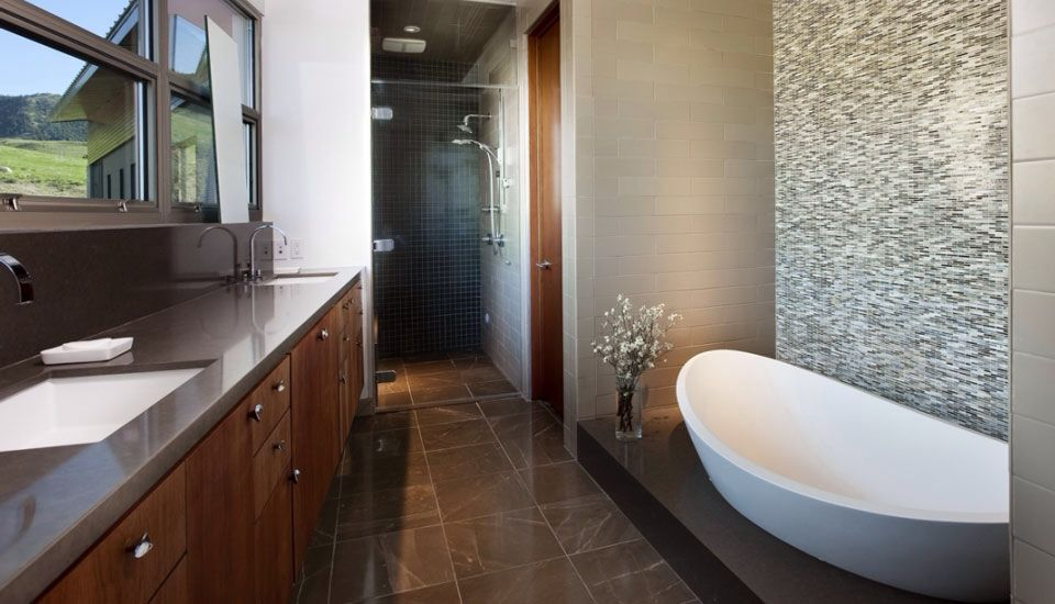 Contemporary Master Bathroom with Bathtub, can lights, Jeffrey court emperador 6 in. x 6 in. honed marble floor/wall tile