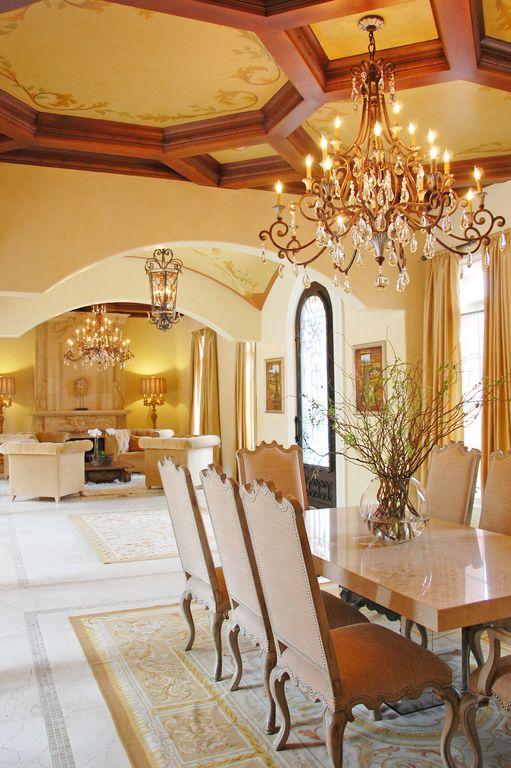 Mediterranean Dining Room with Metropolitan lighting metropolitan zaragoza eight-light pendant, Paint, French doors